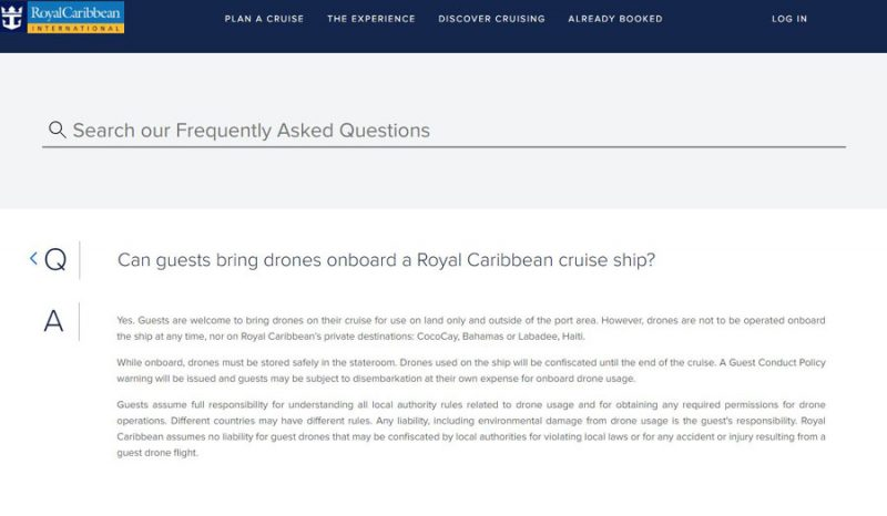 Royal Caribbean Drone Policy (2018)