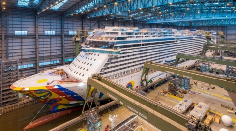 Newest Norwegian Cruise Ship Prepares to Leave Construction Dock