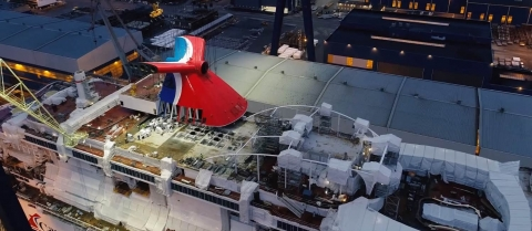 Iconic Funnel Installed on Carnival's New Mardi Gras Cruise Ship