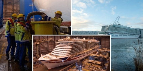 Largest Ever Cruise Ship for the UK Floats Out at Shipyard
