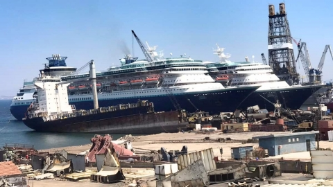 Two Former Royal Caribbean Cruise Ships Beached Ready for Scrapping